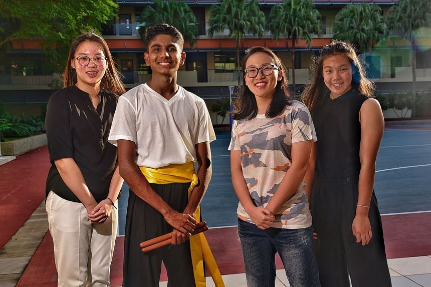 From left: Shirlene Hew (shooting); Shan Anandan (track); Raeka Ee (netball) and Clydi Chan (swimming) at the Singapore Sports School's awards night. All are prospective recipients of the EW Barker scholarship.