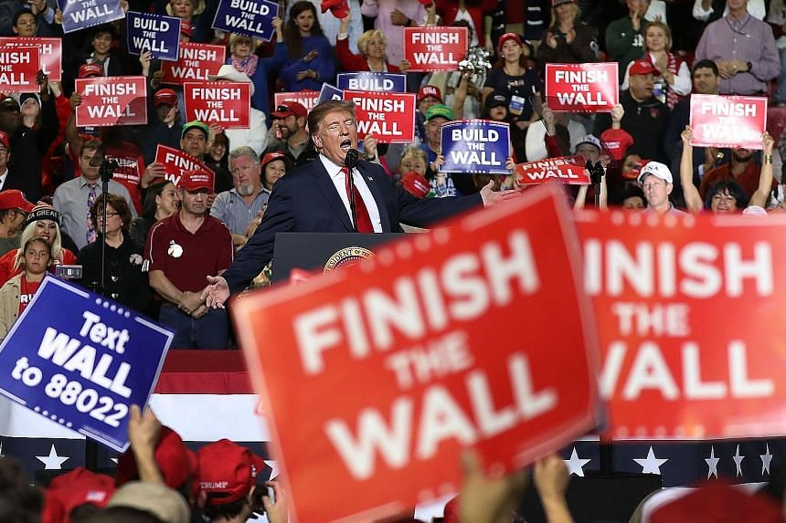 US President Donald Trump at a rally in the El Paso County Coliseum on Monday in El Paso, Texas. Mr Trump continues to press for a wall to be built along the southern border but aides say the tentative deal did not contain the US$5.7 billion (S$7.7 b
