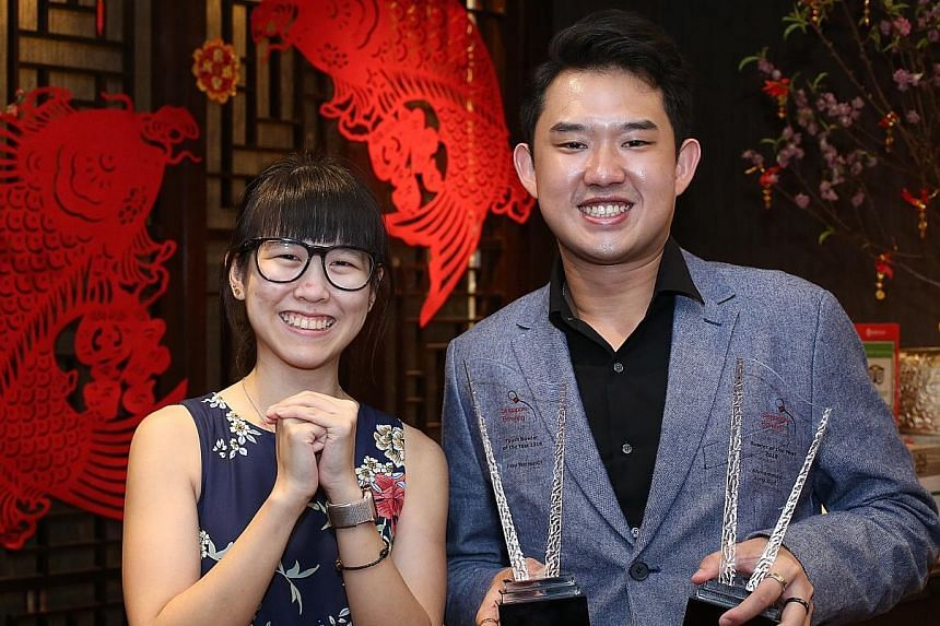Muhammad Jaris Goh and Joey Yeo were respectively named Bowler of the Year and Youth Bowler of the Year at the Singapore Bowling Chinese New Year cum Awards Celebration Dinner at Peach Garden (OCBC Centre) yesterday. Goh, 24, was part of the men's tr
