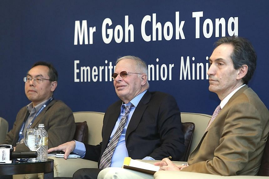 Speakers at the session on the geopolitical context of China's engagement with the Middle East at the annual conference of the Middle East Institute yesterday were (from left) Professor Wang Suolao of Peking University, Mr Ehud Yaari of the Washingto