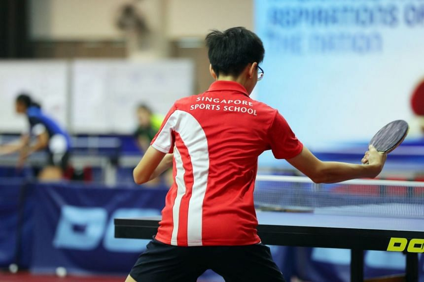 A Singapore Sports School table tennis player in action, on 23 Jan 2018.