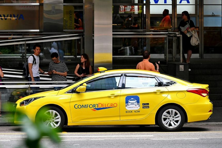 A ComfortDelgro cab at a taxi stand in Singapore central business district.