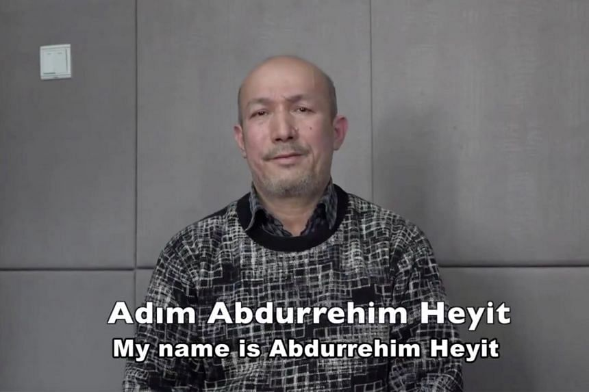A man who identifies himself as Uighur poet and musician Abdurehim Heyit is seen in this still image taken from a video posted online by China Radio International's Turkish language service on Feb 10, 2019.