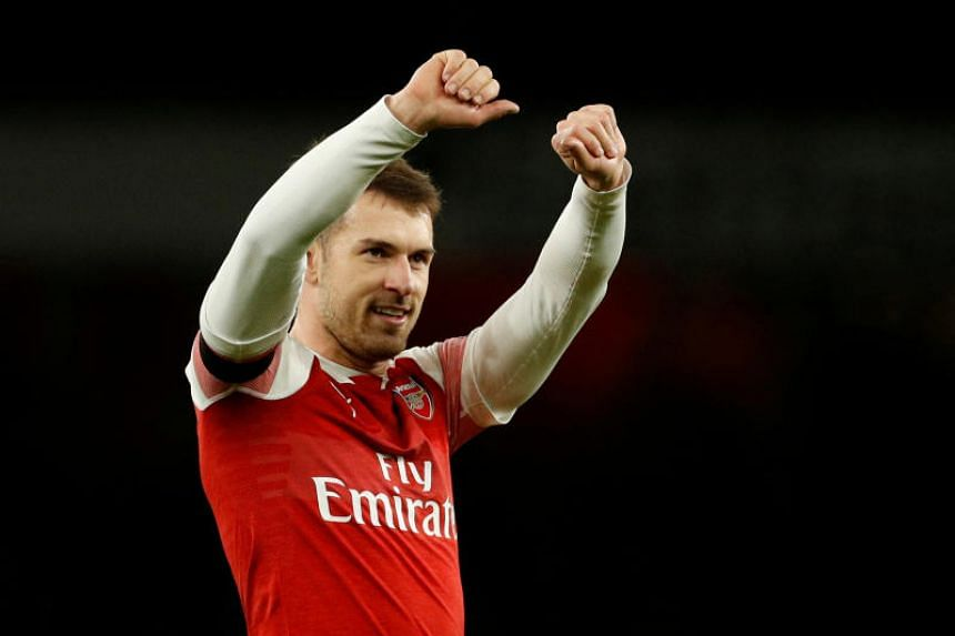 Arsenal's Aaron Ramsey celebrates after the match between Arsenal and Fulham at Emirates Stadium, London, Britain, on Jan 1, 2019.