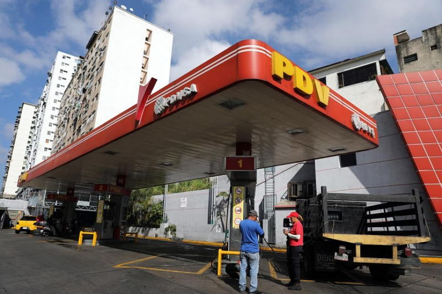 A gas station of the state-owned oil and natural gas company Petroleos de Venezuela in Caracas, Venezuela, on Jan 30, 2019.