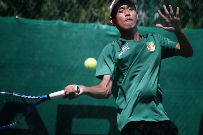 Raffles Institution vice-captain Andre Keh (above) in the final match against Anglo-Chinese School (Barker Road)'s Aaron Toh on Feb 13, 2019.