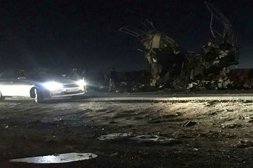 A handout photo shows the scene of the suicide blast in Sistan-Baluchestan province, southern Iran.