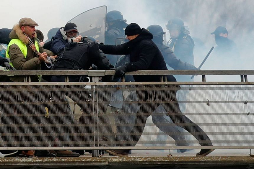 Dettinger is seen during clashes with French Gendarmes on Jan 5, 2019.