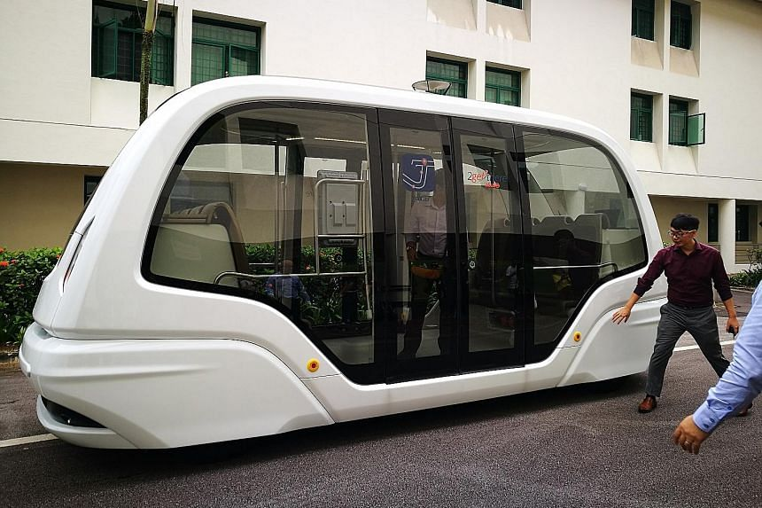 A driverless vehicle being tested at Nanyang Technological University amid Singapore's push to be a smart nation.
