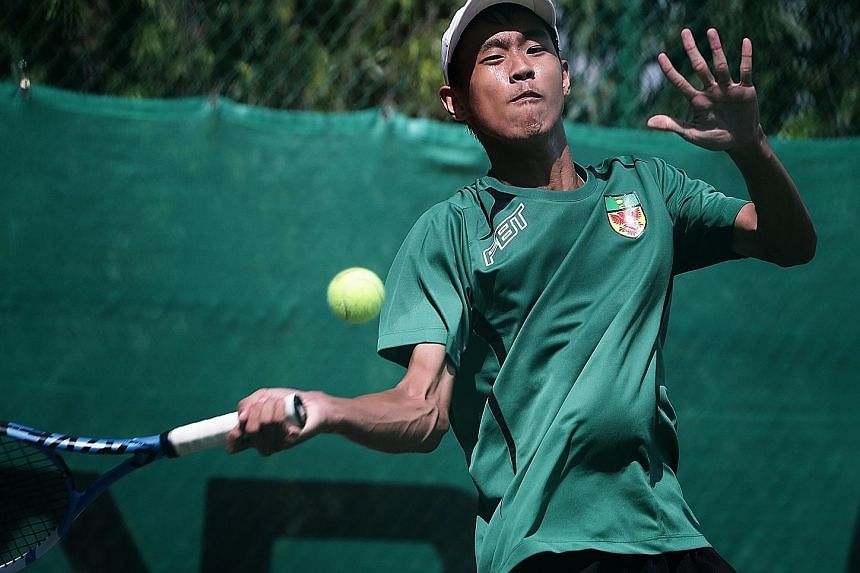 Andre Keh (left) had a nervy start to his singles match, losing the first set 6-3 before regaining his composure and claiming the next two sets 6-2, 6-2 to secure a 5-0 sweep for RI. Aneish Sawney (below) had comfortably won his match to give RI thei