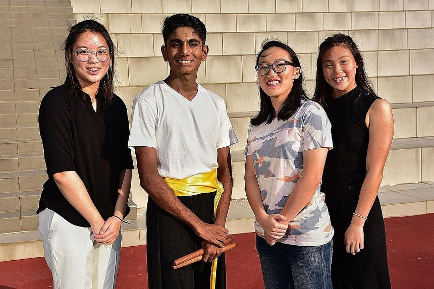 From left: Shirlene Hew (shooting), Shan Anandan (track), Raeka Ee (netball) and Clydi Chan (swimming)are four of 18 student-athletes identified by the Singapore Sports School as prospective recipients of EW Barker Scholarship this year.