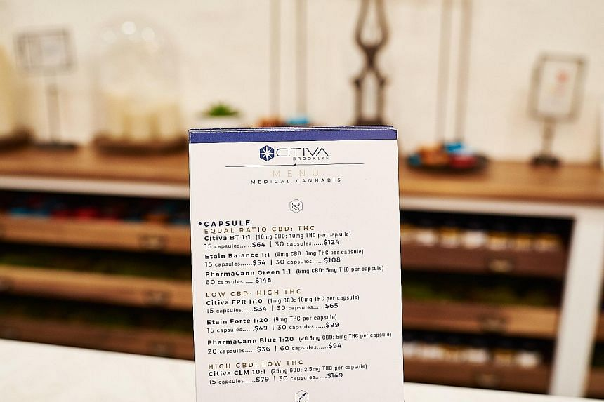 A medical cannabis menu at a dispensary in New York. Cannabinoids are chemical compounds found in the cannabis plant and can be medically administered through pharmaceutical products such as oral solutions.