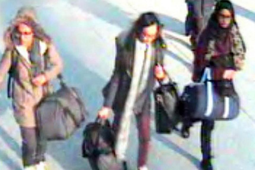 (From left) Amira Abase, Kadiza Sultana and Shamima Begum travelled to Syria from London in February 2015. Begum, now 19 years old, wants to return to Britain.