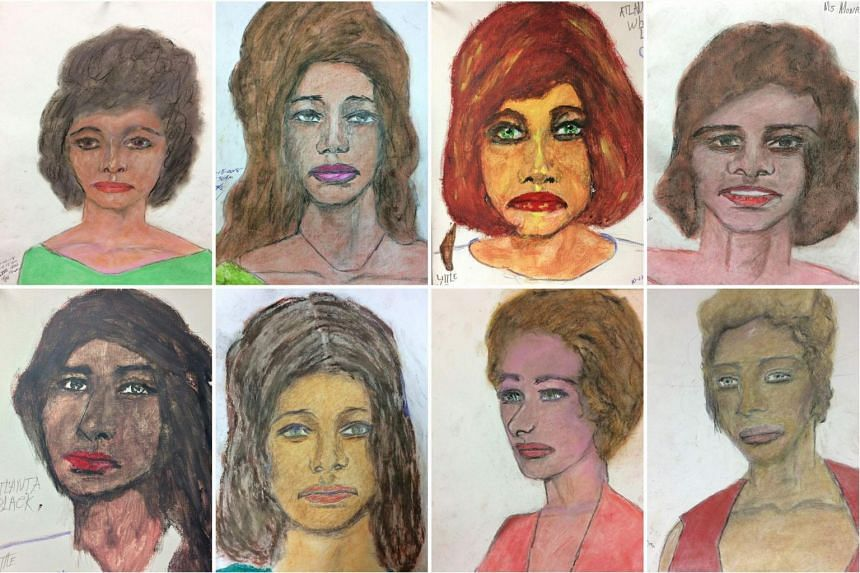 Eight of the 16 pictures drawn by Samuel Little of his female victims released by the Federal Bureau of Investigation.
