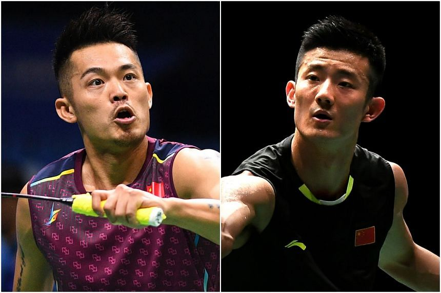 Chinese shuttlers Lin Dan (left) and Chen Long will be competing in the Singapore Badminton Open in April 2019.