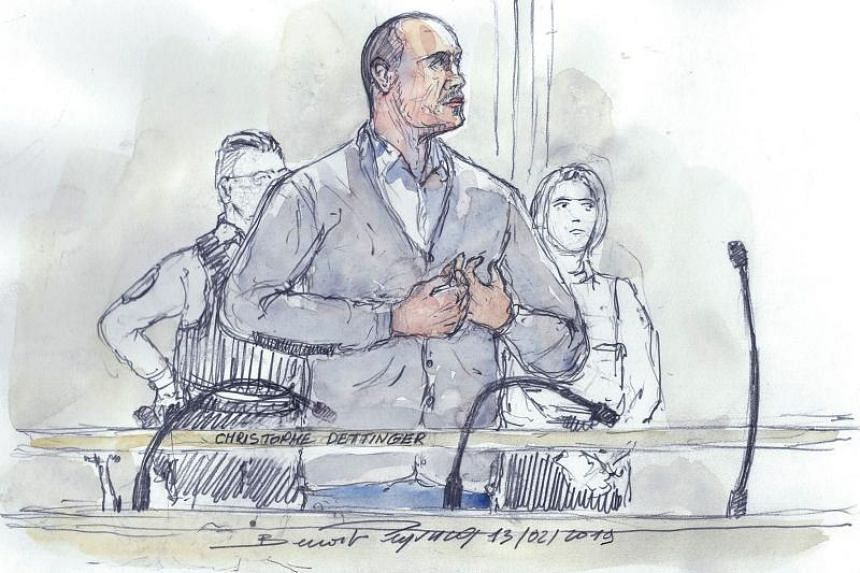 Christophe Dettinger is seen in a court sketch during the opening hearing of the trial over the assault of a police officer during 'yellow vest' protest at the Paris courthouse on Feb 13, 2019.