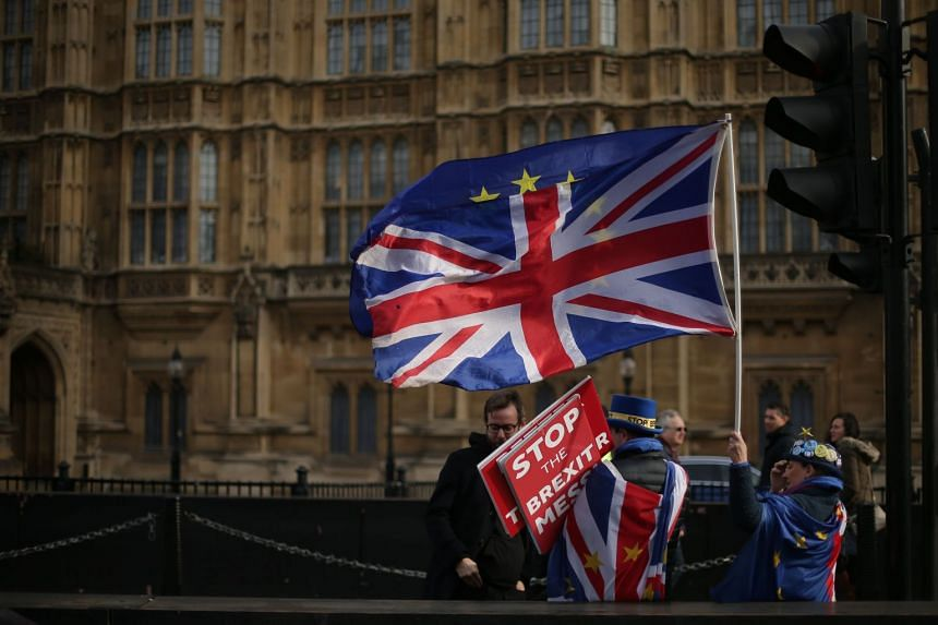 Anti-Brexit demonstrators outside the Houses of Parliament in London, on Feb 13, 2019.