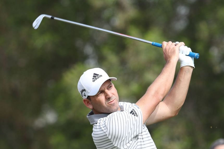 Garcia  plays his shot during the first round of the Omega Dubai Desert Classic.