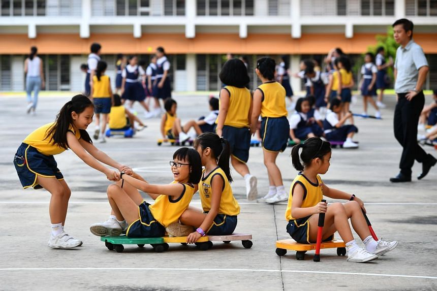 For example, students at Paya Lebar Methodist Girls' School (Primary) taking part in physical activities and sports during recess.