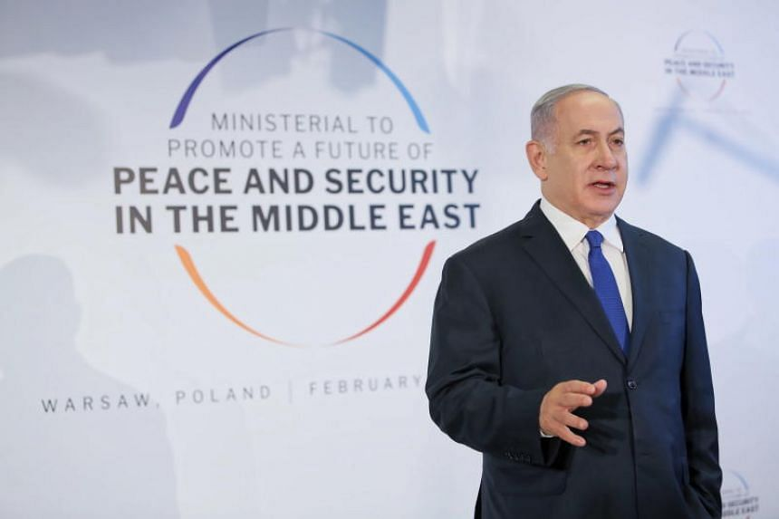 Israeli Prime Minister Benjamin Netanyahu speaking on the second day of an international conference, devoted to peace and security in the Middle East and organised by Poland and the US, at the National Stadium in Warsaw on Feb 14, 2019.