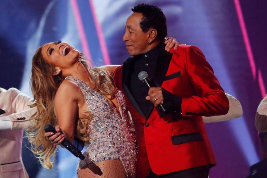 Jennifer Lopez performs with Smokey Robinson during a tribute commemorating the 60th anniversary of Motown at the Grammys on Feb 10, 2019.