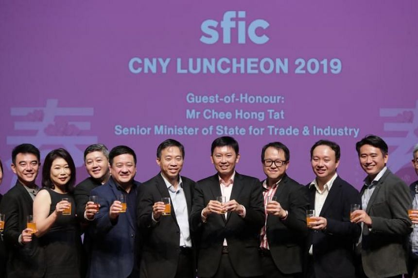Senior Minister of State for Trade and Industry Chee Hong Tat (sixth from left) launching the Furniture Sector Technology Roadmap on Feb 14, 2019.