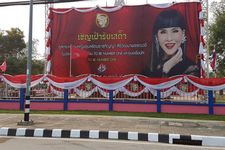 A banner showing Thai Princess Ubolratana Rajakanya at Phichit Pittayakom school in Phichit Province, where she is due to visit, on Feb 14, 2019.