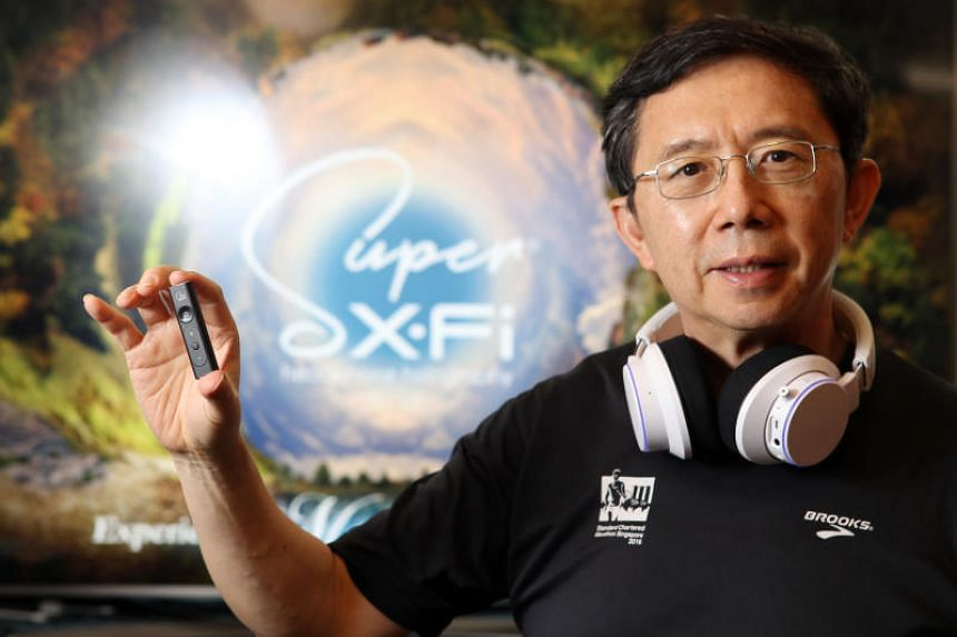 Sim Wong Hoo, founder and chief executive of Creative Technology, with a Super X-Fi amp headphone amplifier. Creative said rvenue contribution from Super X-Fi products for the current quarter is not expected to be significant to the overall revenue f