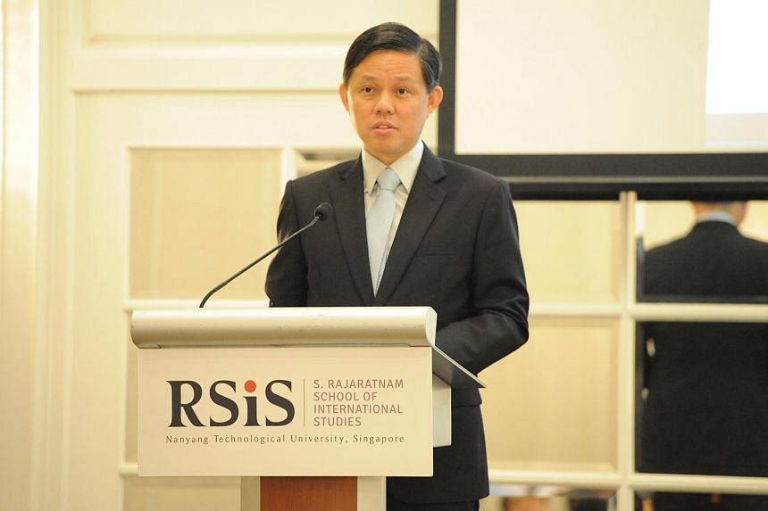 Minister for Trade and Industry Chan Chun Sing speaking at the Asia Pacific Programme for Senior Military Officers Alumni Distinguished Speakers' Lecture on Feb 15, 2019.