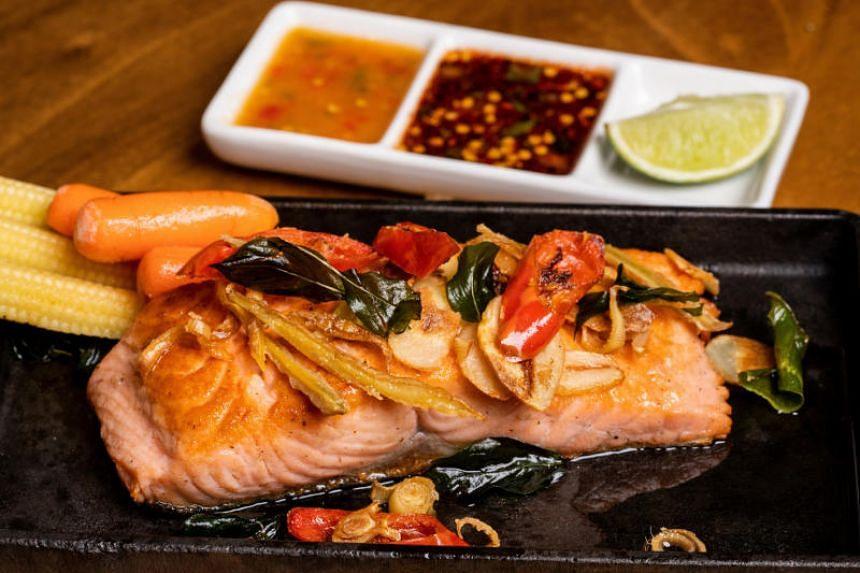 Pan-fried Salmon Steak from Baan Ying.