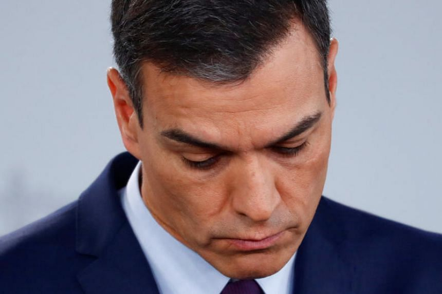 Spain's Prime Minister Pedro Sanchez at a news conference after an extraordinary Cabinet meeting in Madrid, Spain, on Feb 15, 2019.