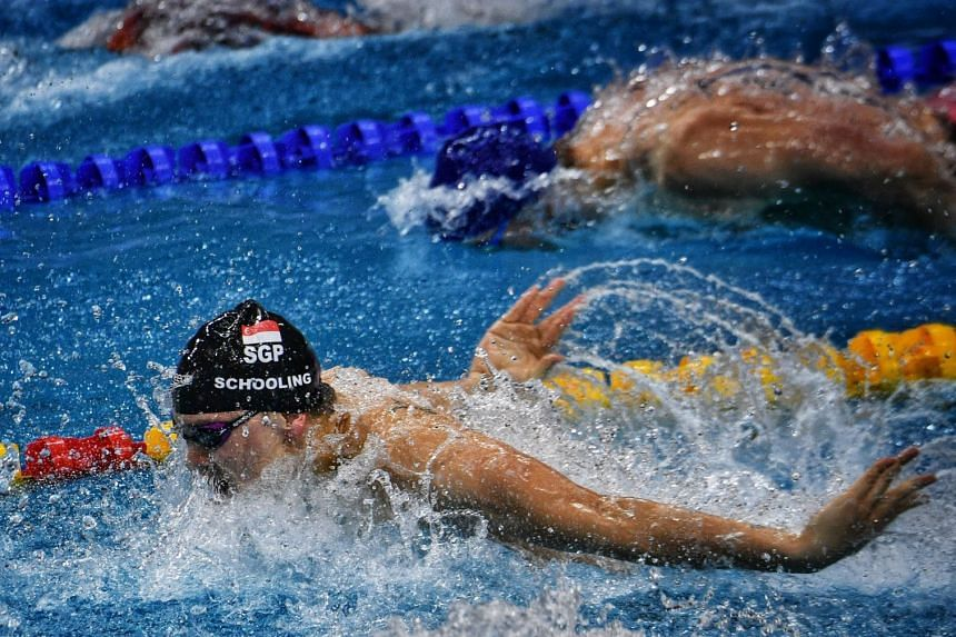 Singapore's Olympic champion Joseph Schooling on the way to third place in the 50m butterfly at the Fina World Cup Singapore leg at the OCBC Aquatic Centre on Nov 17, 2018.