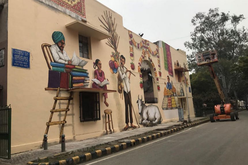 At the Lodhi Art District in central Delhi, one lane has been converted into Singapore Lane featuring street art by Singaporean artists, as part of a festival by the Singapore Tourism Board and the St+art India Foundation.