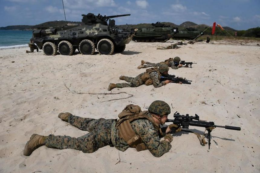 US Marines occupy the beach during an amphibious landing in Thailand's Chonburi province on Feb 16, 2019, during the annual Cobra Gold war games.