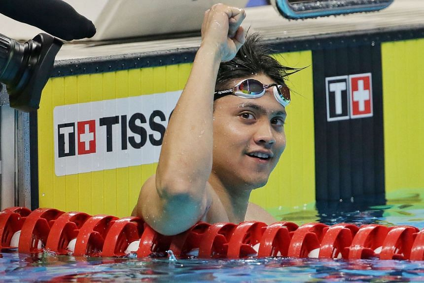 Joseph Schooling is delighted after winning the 50m butterfly at the Asian Games in Jakarta last August to complete a double.