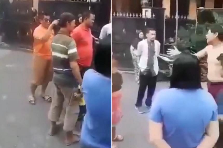 The video clip shows the two men arguing in the street surrounded by a small group of people in a residential area in Cengkareng, West Jakarta.