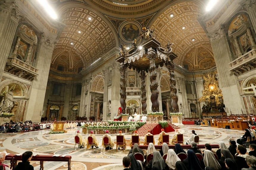 Pope Francis leading a mass in Saint Peter's Basilica at the Vatican, on Feb 2, 2019.