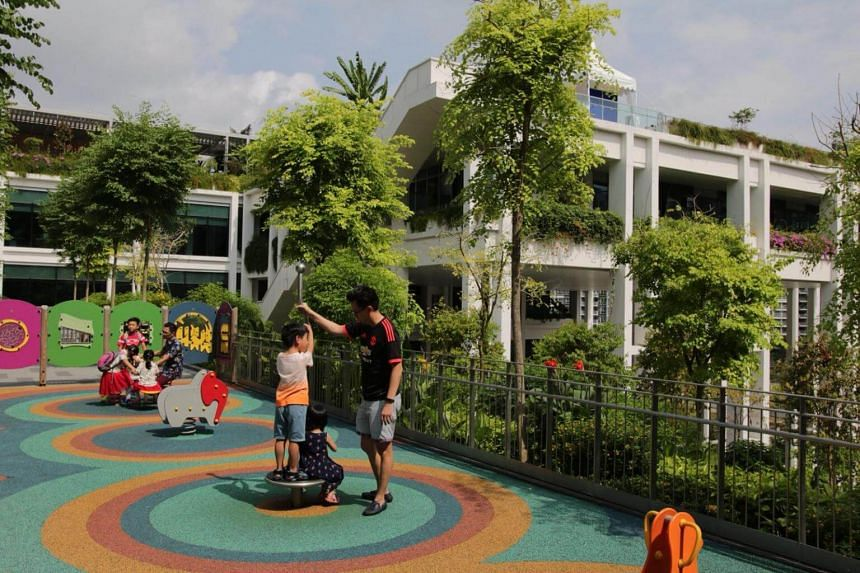 Oasis Terraces in Punggol has community gardens, an outdoor playground, a fitness corner on the rooftop and 106 shops.