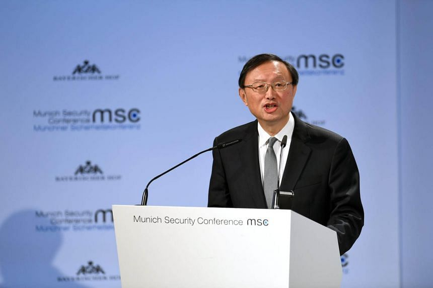 China's Political Bureau member Yang Jiechi speaks during the Munich Security Conference in Munich, Germany, on Feb 16, 2019.