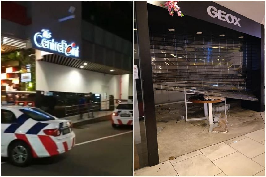 Photos and videos show firemen and police officers on site. The interior of Geox, a shoe shop on the mall's first floor, was damaged with burn marks on its floor.