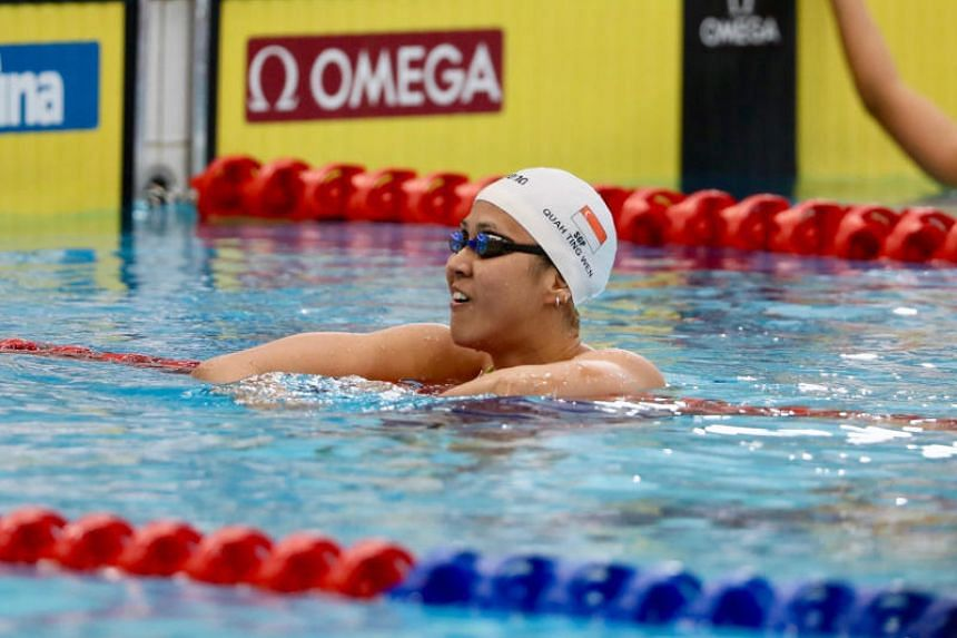 Quah Ting Wen clocked a new national record of 55.41 seconds in the women's 100m freestyle at the Singapore Swim Series presented by OCBC on Feb 17, 2019.