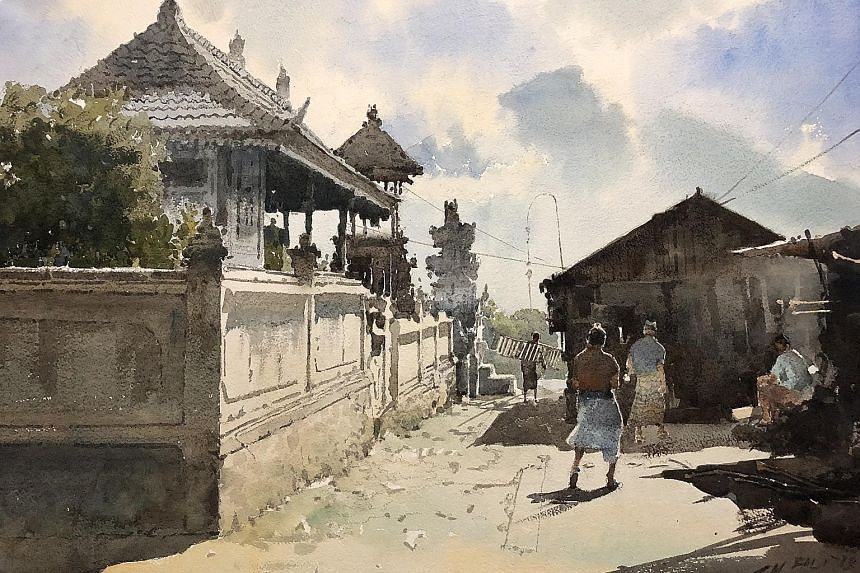 Ong Kim Seng's painting was inspired by a study trip he led in Bali last May. Mount Agung erupted in June, a week after he returned home.