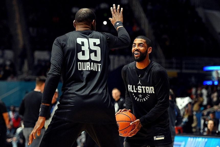 Team Lebron s Kyrie Irving and Kevin Durant during practice for the NBA All-Star  Game bdf76fb08