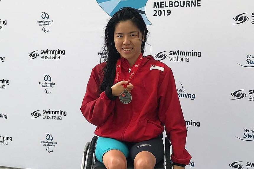 Yip Pin Xiu, with the silver medal she won in Melbourne yesterday, is looking forward to the Singapore leg of the World Para Swimming World Series in May.