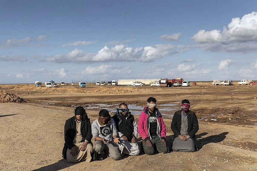 Suspected ISIS Militants Captured By The Syrian Democratic Forces SDF In Deir Al