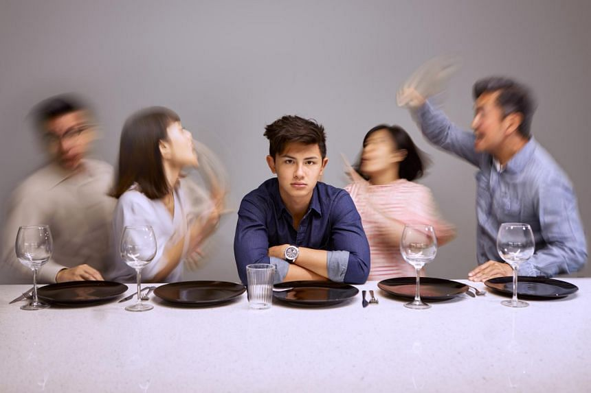 (From left) Edward Choy, Janice Koh, Xander Pang, Karen Tan and Adrian Pang in Late Company, presented by Pangdemonium.