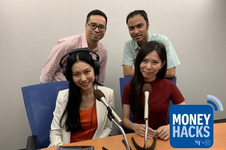 Money Hacks hosts Chris Lim (back row, left) and Ernest Luis host sisters Rhonda Wong (front row, right) and Race Wong (front row, left) - who are co-founders of Ohmyhome, a one-stop property tech company aiming to make housing transactions in Singap