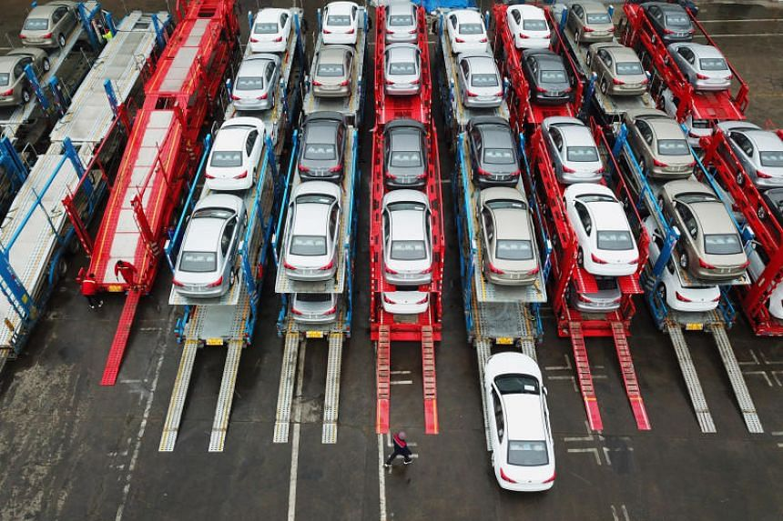 Cars on a cargo vessel at a port in Lianyungang, Jiangsu province, China, on Feb 14, 2019.
