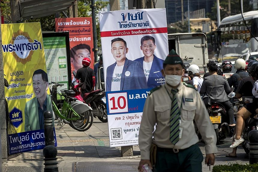 Election campaign posters in Bangkok earlier this month. The possibility of unrest if the electorate feels it is being denied free and fair elections poses a key risk to Thailand's economic outlook, said Capital Economics. Growth remains heavily reli