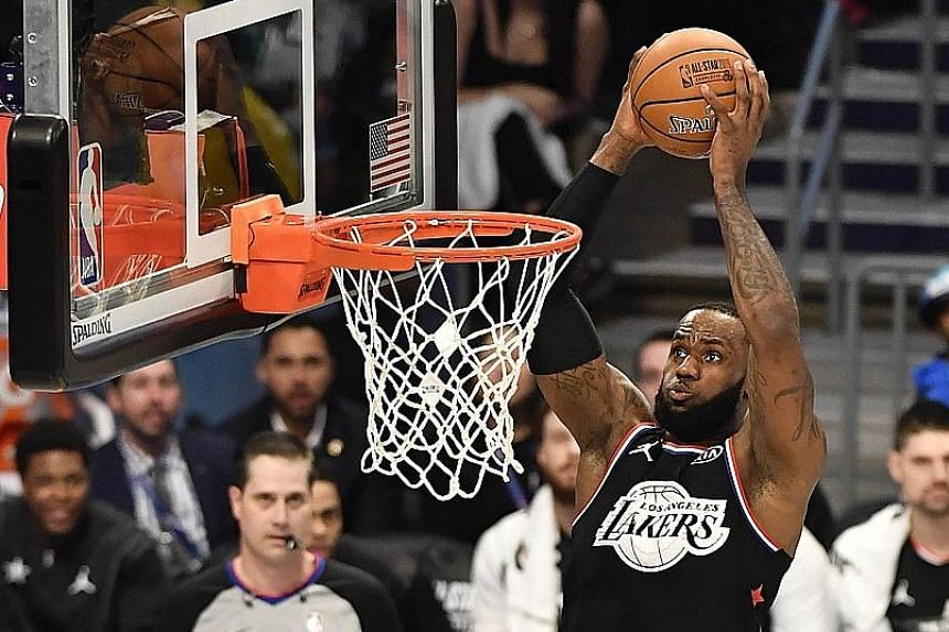 dc23fb3b7dd LeBron James going up for a dunk during the NBA All-Star game at the